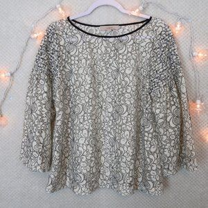Loft Floral Lace Knit Smocked Bell Sleeve Top